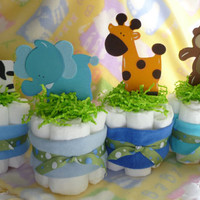 Mini Diaper Cakes, Baby Showers, Gifts, Centerpieces, Table Decoration, Zoo Animals, Boy, Girl