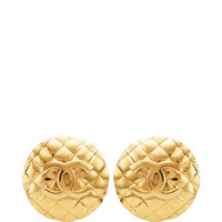 Vintage Chanel Gold Large Round Earrings from What Goes Around Comes Around by Vintage Chanel from What Goes Around Comes Around - Moda Operandi