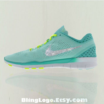 Nike Free 5.0 Tr Fit 5 Breathe Shoes With Swarovski Crysral Rhinestones - Bling Nikes, Bling Shoes, Blinged Out Nikes