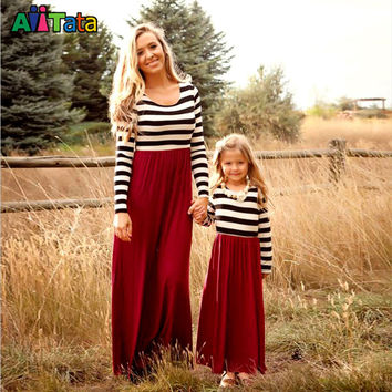New  2016   sleeve mother daughter dresse Family Matching clothes Striped Mom and daughter dress Family look outfits