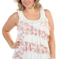 plus size tank top with ruffle tiers - debshops.com