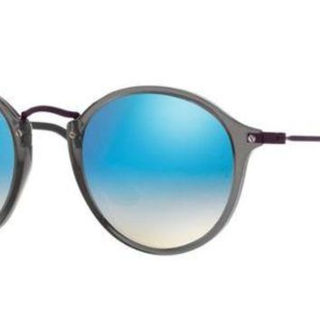 VLX85E Beauty Ticks Ray Ban Round Fleck Sunglasses Transparent Grey With Blue Flash Mirror Gradient Lenses Rb2447n 62554o