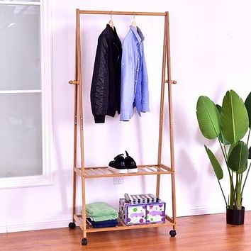 Portable Bamboo Garment Shelves Stand