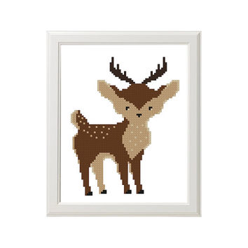 Woodland Animals Nursery Cross Stitch Pattern Woodland nursery deer Nursery wall art Woodland room decor Woodland bedding