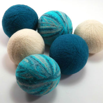 Wool Dryer Balls - Turquoise Striped Peacock Blue and Creme Dryer Balls - Pack of 6 - Eco-Friendly Laundry Balls - Chemical Free Laundry