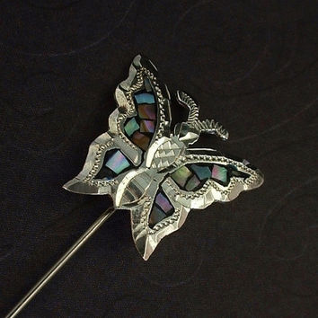 Sale VINTAGE Mexican STERLING Silver BUTTERFLY Brooch Stickpin Mosaic Pearl Inlay Eagle Hallmarks c.1950's