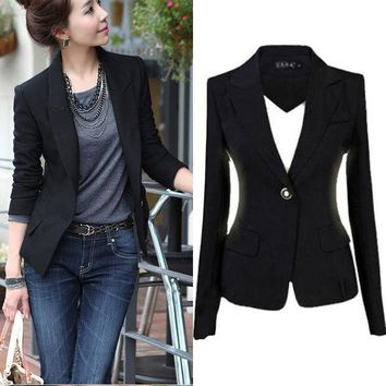 PEAPGB2 NEW Blaizers Women Slim One Button Short Blazer Suit  Long Sleeve BLACK 2016