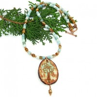 Rustic Tree of Life Necklace, Ceramic Amazonite Czech Glass Copper Handmade Jewelry for Women