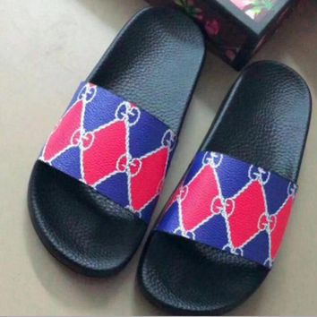 Gucci Trending Women Men Casual Red Blue Color Matching Print Sandal Slipper Lovers Shoes
