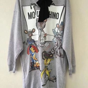 moschino rat porter hooded sweater dress