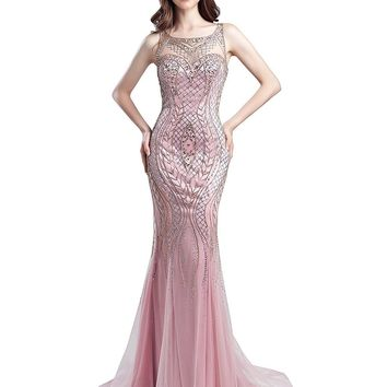 Topwedding Women's Crystal Beaded Prom Dresses Long Formal Evening Gowns