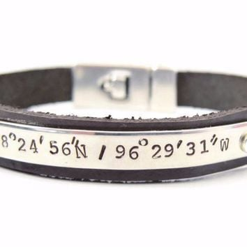 Men's Coordinate Latitude & Longitude Leather Bracelet