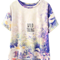 Purple WILD THING Daisy Print Short Sleeve T-shirt