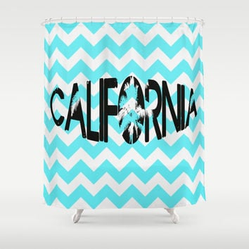 Chevron Blue Teal California Shower Curtain Beach Cottage Decor Summer