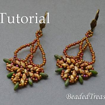 Chandelier - beadwoven earrings tutorial / Beading tutorial / Earring pattern / Bead pattern / Superduo / Rizo / TUTORIAL ONLY