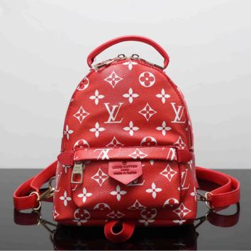 LV Women Red Casual School Bag Cowhide Leather Backpack