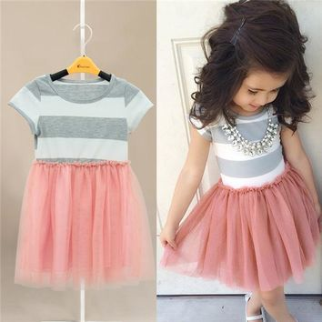 Toddler Baby Girls Short Sleeve Striped Tops Pleated Mini Dress Princess Dresses 2-10Y