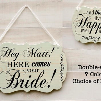 Double Two Sided wood wedding sign 7 colors. Personalized - choice of text. Ring Bearer Here Comes the Bride Happily Ever After Mr. and Mrs.
