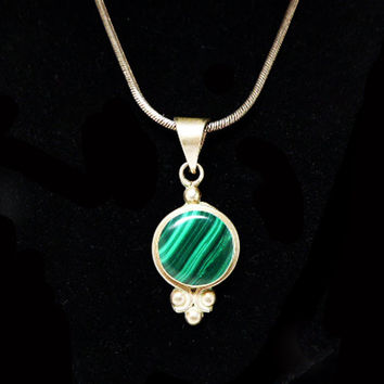 Best mexican silver pendants products on wanelo sterling malachite pendant necklace signed mexico sterling mozeypictures Choice Image