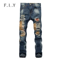 2015 Arrival Fashion Famous brand jeans men denim rock ripped distressed destroyed mens pants pantalones vaqueros hombre MYA0151