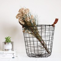 Black Metal Wire Basket Waste Paper Bin Kitchen Bedroom Bathroom Storage