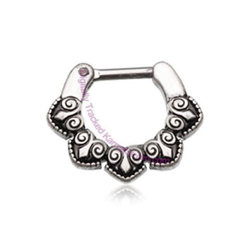 Byzantine Clicker Ring for Septum & Daith Piercings