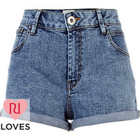 Acid wash high waisted denim shorts - denim shorts - shorts - women