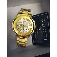 GUCCI Popular Ladies Men Stylish Quartz Movement Watches Wrist Watch Cartier Bracelet Golden I/A