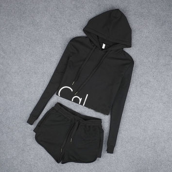 Hooded Sweatshirt Tracksuit Two Piece Set Crop Top and Shorts Female Jogging Suit