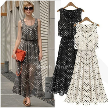 Elegant Women's Spring Summer Long Chiffon Polka Dot Sleeveless Maxi Dresses  ffp = 1946397188