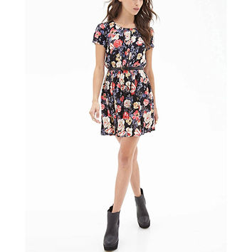 Black Floral Printed Chiffon Pleated Dress