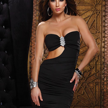 Black strapless mini dress with side cutout
