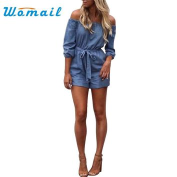 Womail Fashion 2017 Sexy Women Off Shoulder Playsuit Casual Vintage Short Rompers Womens Jeans Jumpsuit S-XL #20 Gift 1pc