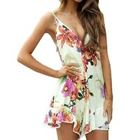 SUNNOW Womens V Neck Sleeveless Floral Printed Short Jumpsuit Romper