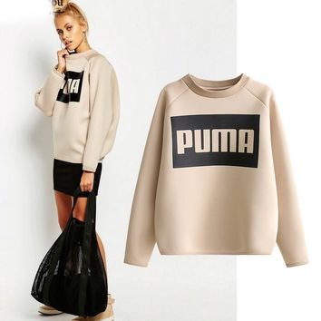 PUMA: long letter printing hoodies