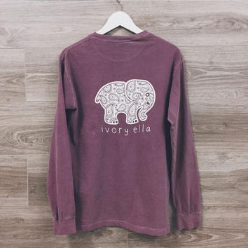 Fashion elephant pattern long-sleeved T-shirt