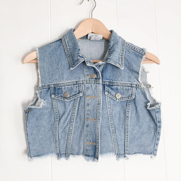 Cropped Denim Vest, Small Denim Vest, Vintage Womens Denim. Jean Jacket Vest. 90s Vest, Boho Grunge. Blue Jean Jacket Sleeveless.
