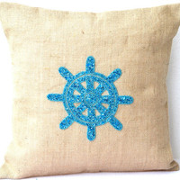 Burlap pillow cover with Ship Wheel in sequins- Beach pillow - Nautical pillow - Embroidered Pillow - Designer cushion cover- 16X16