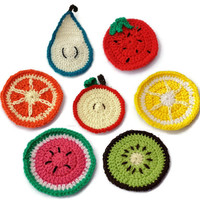 Retro Fruity Coasters - Individually Sold!  - Lemons, Oranges, Apples, Strawberries, Kiwi Fruit, Watermelons, Pear, Cup Holder, Undersitter