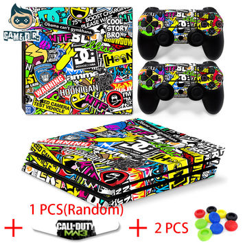 Cute Colorful Collage Print Vinyl Decal Skin Sticker for Play Station 4 PS4 Pro Console + 2 Controller Skin + LED Lightbar Skin