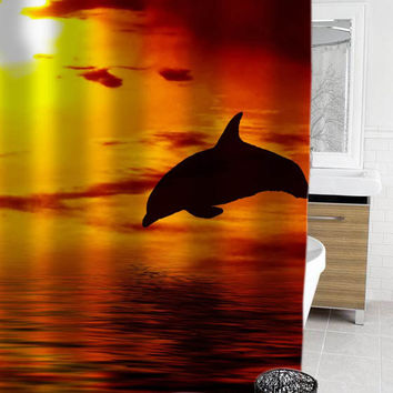 Dolphins sunset shower curtain