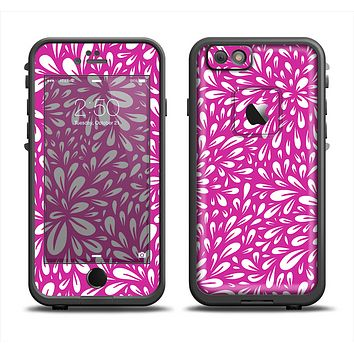 The Hot Pink & White Floral Sprout Apple iPhone 6 LifeProof Fre Case Skin Set