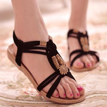 2016 Fashion Summer High Quality Woman Flat Sandals Gladiator Sandalias Mujer Brief He