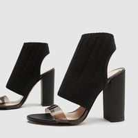 STRETCH FABRIC HIGH HEEL SANDALS DETAILS