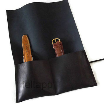 Leather Watch Roll, Tool Roll, Roll Pencil Case, 2 Slots,  Italian Black Leather.