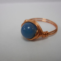 Copper Wire Wrapped Blue Agate Ring, copper wire wrapped ring, wire wrapped ring, blue agate wire wrapped ring, copper ring