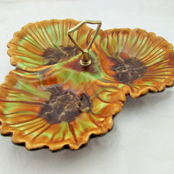 Deforest Pottery Relish Nut Dish Shell Design Green Brown