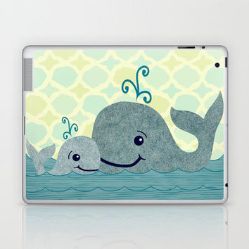 Whale Mom and Baby Laptop & iPad Skin by Elephant Trunk Studio | Society6