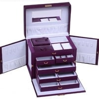 LARGE PURPLE LEATHER JEWELRY BOX / CASE / STORAGE / ORGANIZER WITH TRAVEL CASE AND LOCK