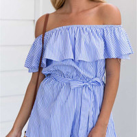 Blue Stripe Off Shoulder Ruffle Tie Waist Romper Playsuit